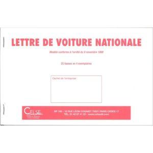 lettre de voiture nationale petit format carnet de 25 liasses